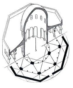Sectional axonometric view through dome © Creswell Archive