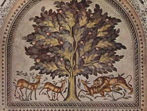 Tree mosaic in Khirbat al-Mafjar (image from WikiCommons)