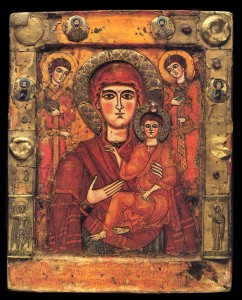 Virgin Mary as Hedegetria with Archangels from Zhilkany Monastery in Georgia, 1300s | WikiCommons