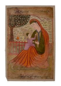 A Falnama (Book of Divination) painting of the Virgin Mary and Jesus (c. 1600) | via Melikian Collection