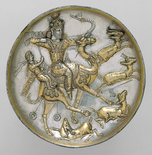 Plate with a hunting scene from the tale of Bahram Gur and Azadeh, 5th century; Sasanian period Iran - Metropolitan Museum, New York, accession no. 1994-402 | Courtesy of MET Museum