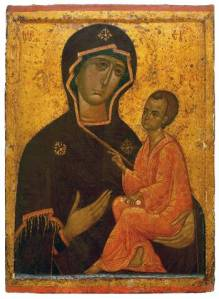 Hodogetria - The Theotokos of Tikhvin, a Russian icon, ca. 1300 | WikiCommons