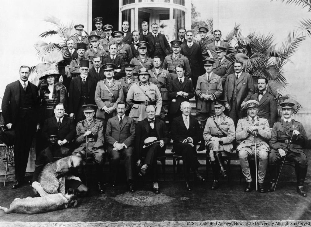 Gertrude Bell in the group photo at the Caire Conference.