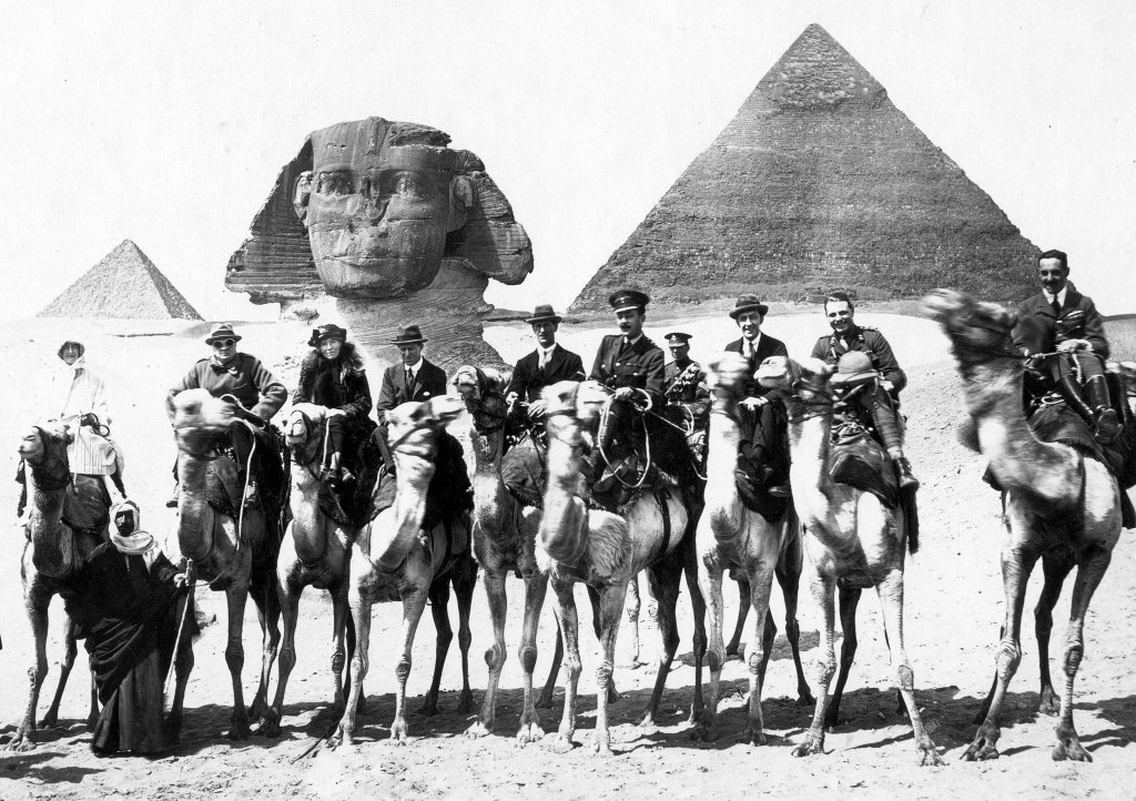 Gertrude Bell during a break at the Cairo Conference on camelback